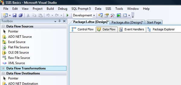 The Data Flow tab in SSIS Designer