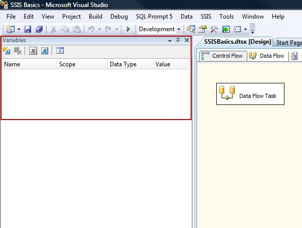 Variables window in SSIS Designer