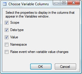 Additional columns available for variables