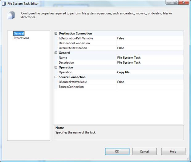 Accessing the File System Task Editor