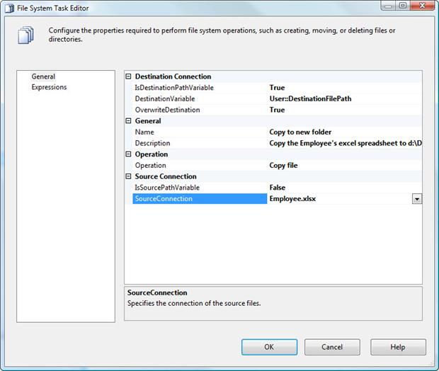 Configuring properties in the File System Task Editor