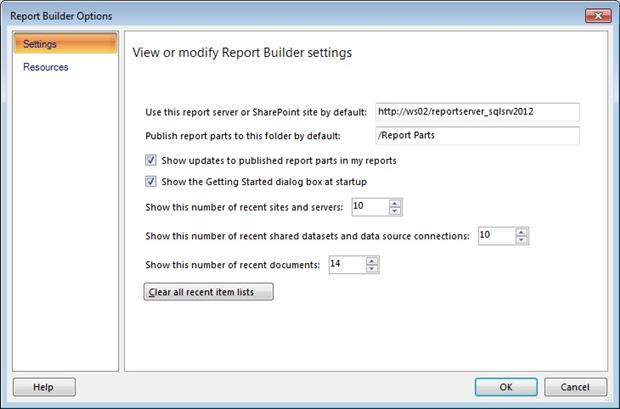 The Report Builder Options dialog box