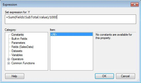 Adding an expression to the Value field property