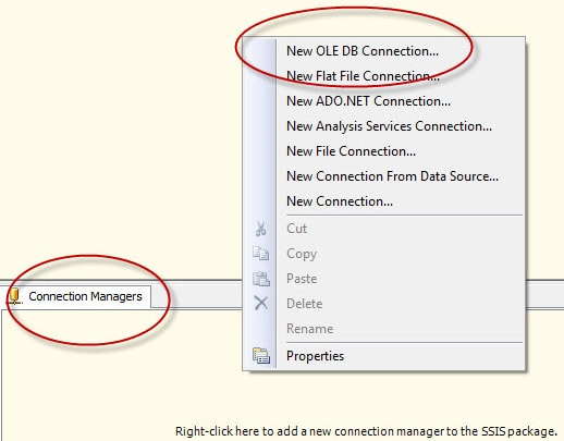 Creating a new OLE DB connection manager