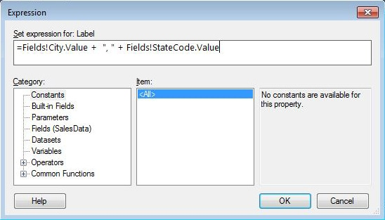 Defining an expression for the Label property