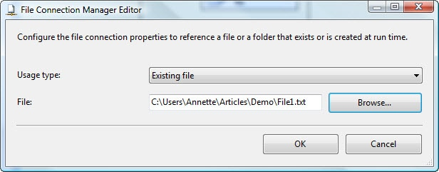 Configuring the File Connection Manager Editor