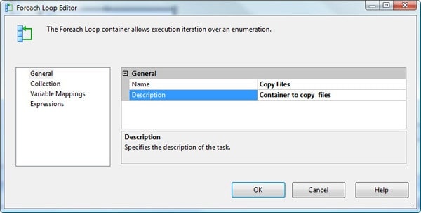 Configuring the General page in the Foreach Loop Editor