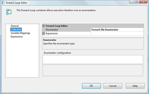 Configuring the Collection page in the Foreach Loop Editor