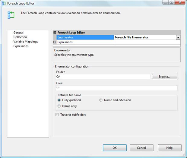 Selecting the Foreach File Enumerator type