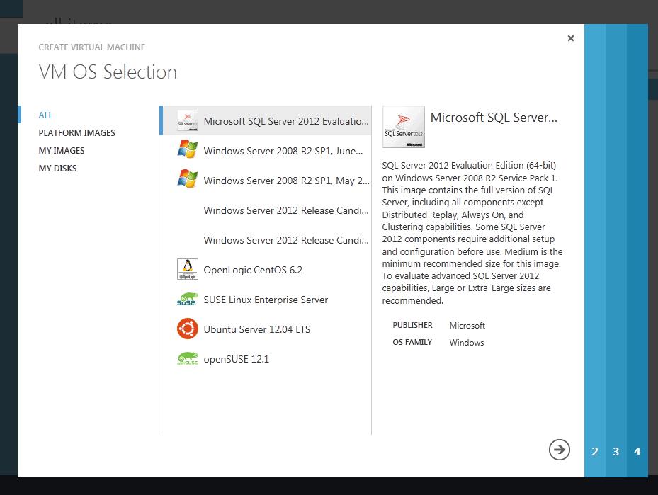VM OS Selection