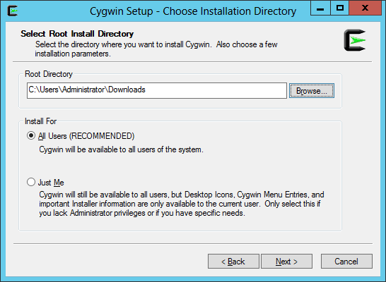 Choosing installation directory