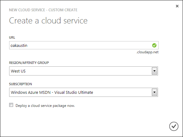 Specify the Cloud Service URL, region and subscription