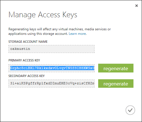Copy one of the Storage Account's Access Keys