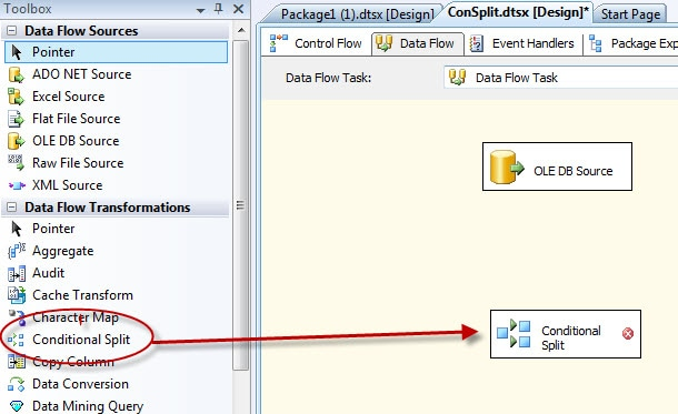 Adding the Conditional Split transformation to the data flow