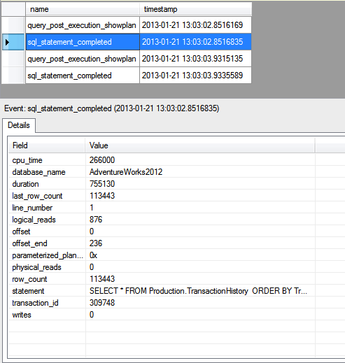 Viewing the transaction_id and database_name fields