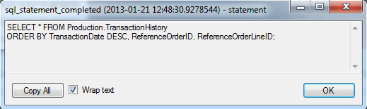 Viewing the T-SQL statement in a sql_statement_completed event