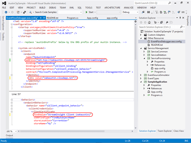 Configure the EventFlowDebugger for use with instances deployed to Windows Azure