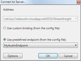 Specify the connection to the Windows Azure StreamInsight instance