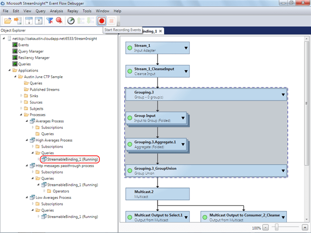 Monitor activity in the Stream Insight Event Flow Debugger