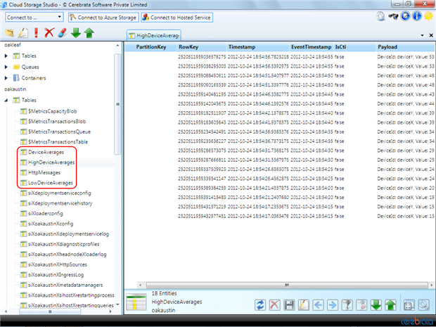 The entities of theHighDeviceAverage table, shown here in Cerebrata Storage Explorer, alternate between devices X and Y