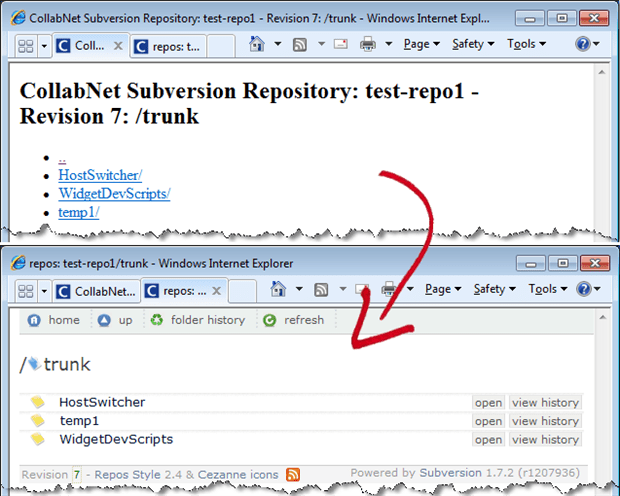 Here you see the difference provided by applying an XSLT stylesheet from ReposStyle