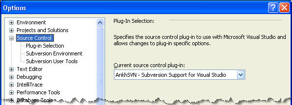 Select the source control provider for AnkhSVN from Visual Studio's Options window before you load your solution