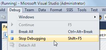 Stop debugging