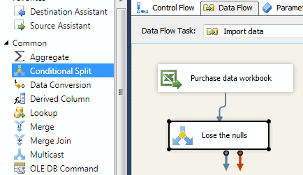 Add a conditional split to the data flow