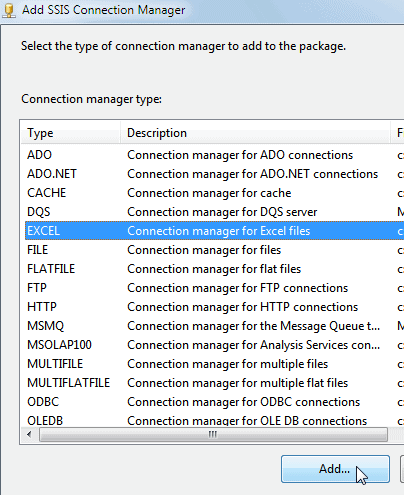 Choosing an Excel Connection