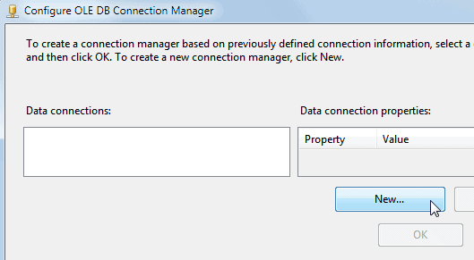Click 'New' to create the connection manager