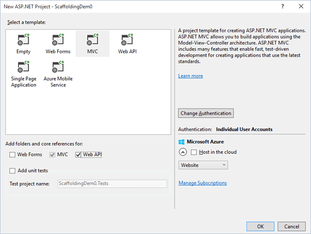 Using Scaffolding to Create MVC Applications with Visual Studio