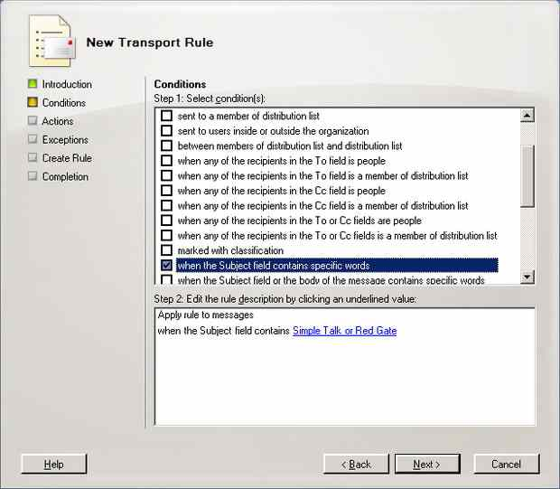 Controlling Email Messages using Exchange's Transport Rules