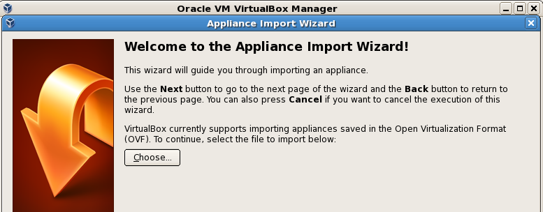 Choose File/Import Appliance