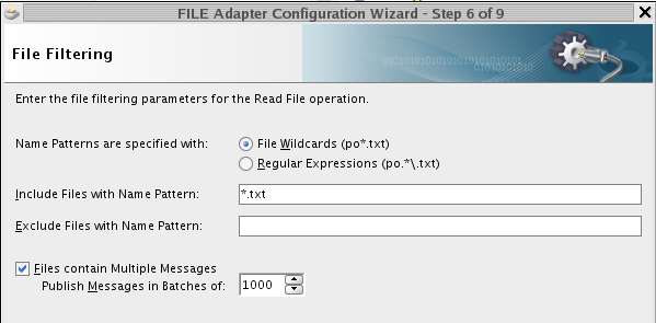 Enter filtering information