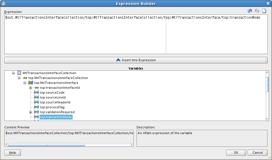 Expand the output structure and choose the target value and click Insert into Expression