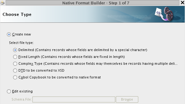 Click Next to go on to Native Format Builder to define file record layout