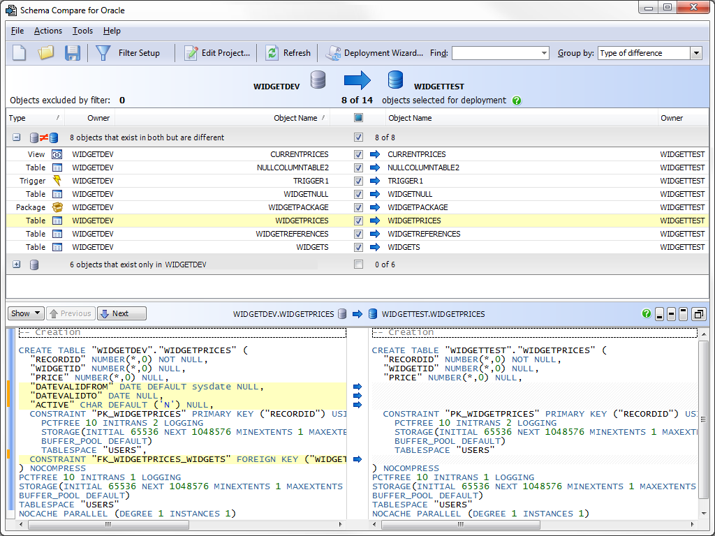 Selecting objects to deploy in Schema Compare for Oracle