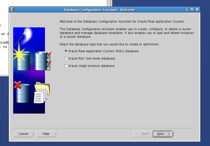 Screenshot: creating a RAC One Node database