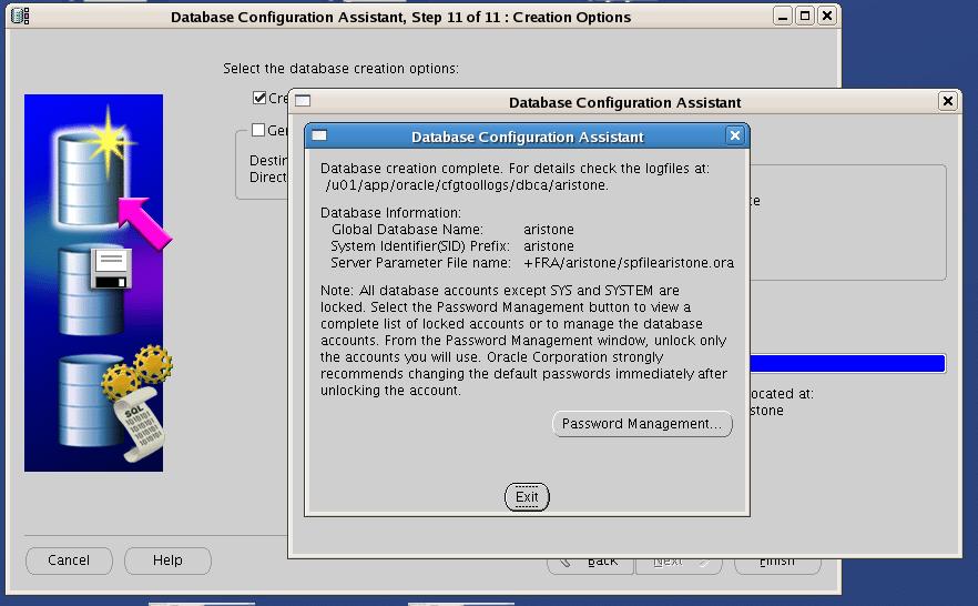 Screenshot: Oracle RAC One Node database creation finished