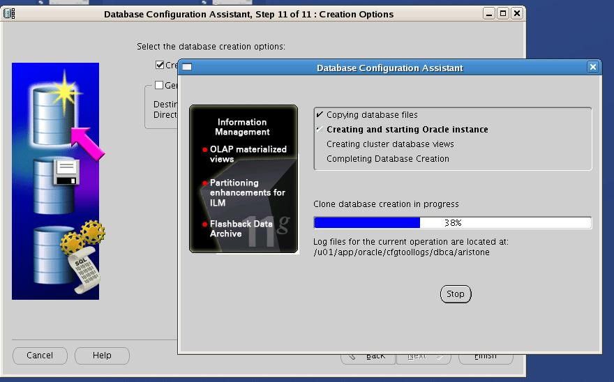 Screenshot: Oracle RAC One Node database creation progress