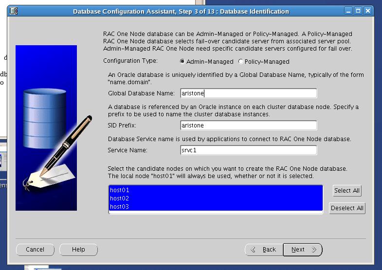 Screenshot: Oracle RAC one node identification