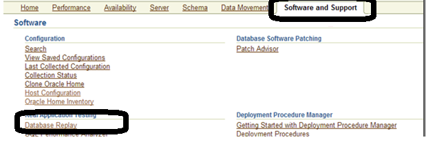 Screenshot: Oracle Enterprise Manager database replay