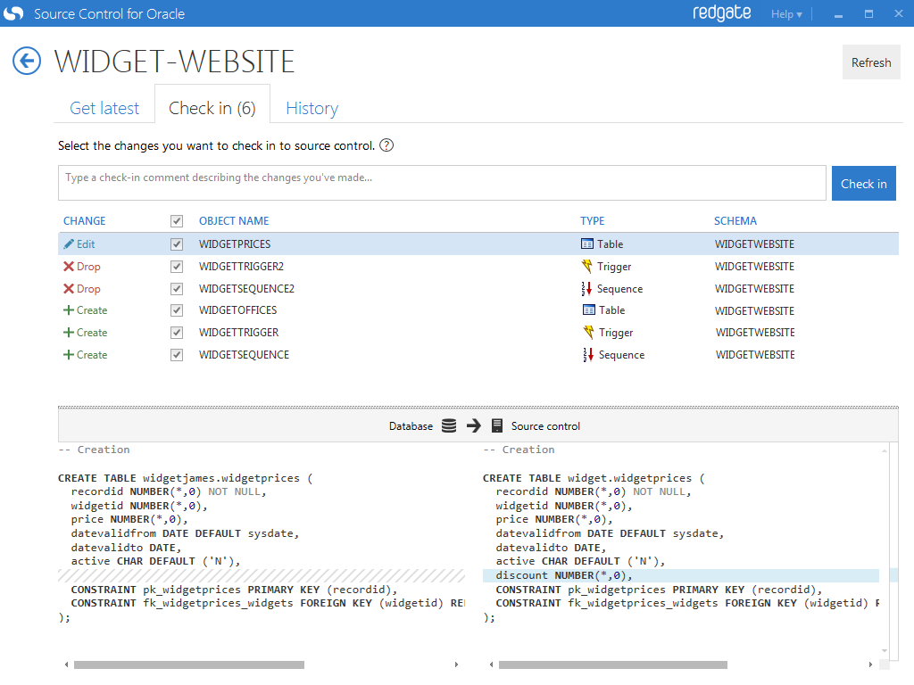 Screenshot: Source Control for Oracle user interface