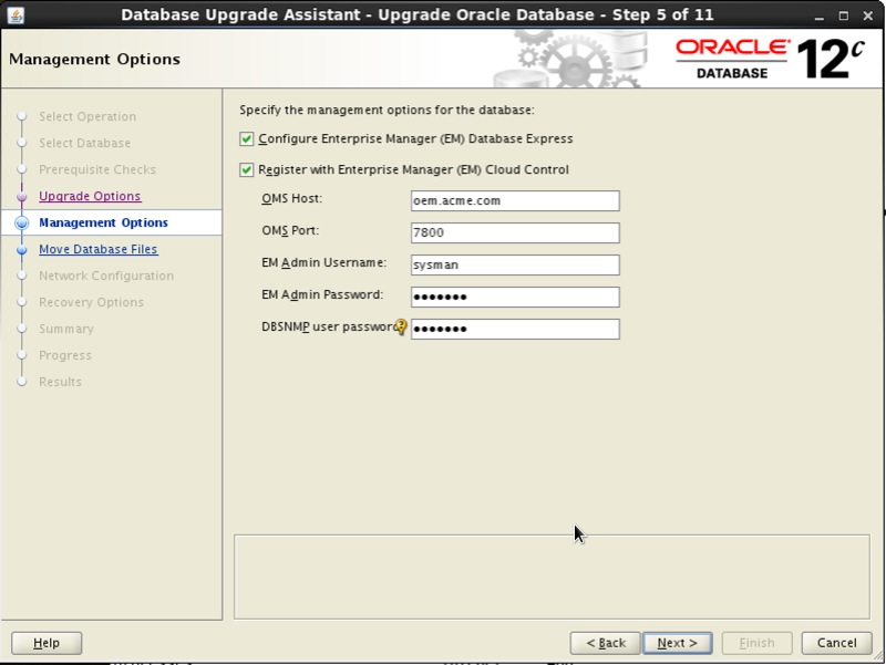 Screenshot: Oracle 12c database upgrade assistant management options