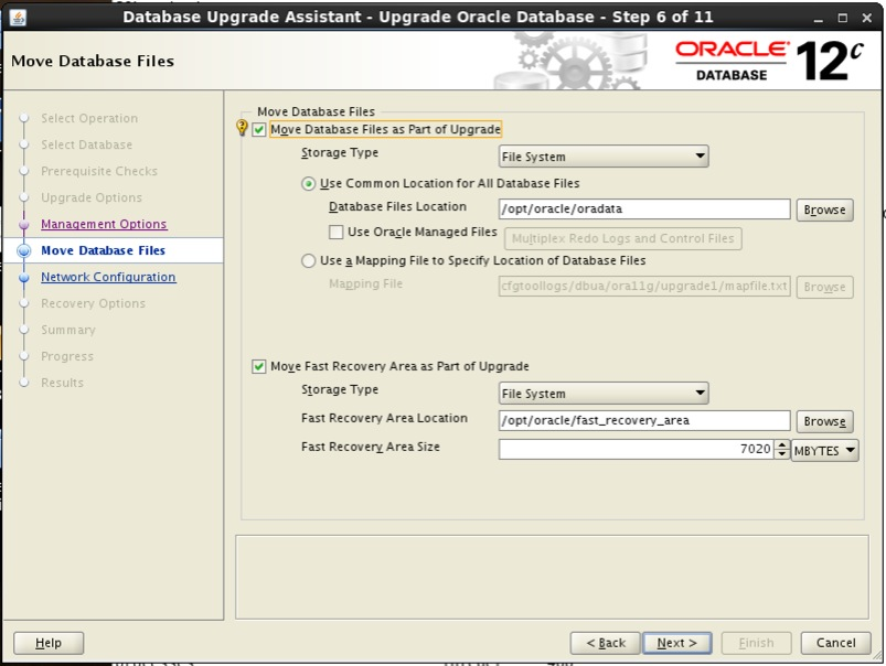 Screenshot: Oracle 12c database upgrade assistant move database files