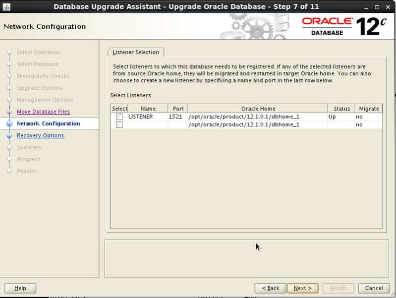 Screenshot: Oracle 12c database upgrade assistant network configuration