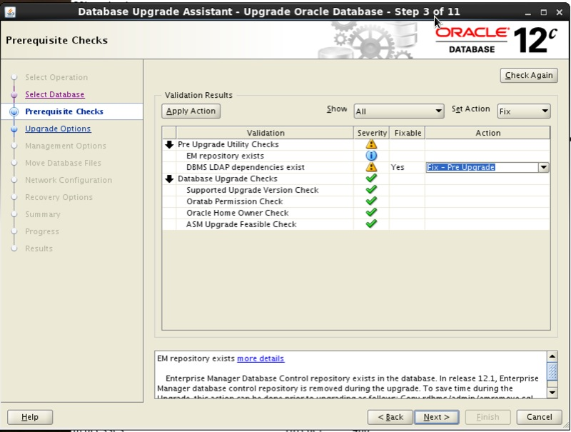 Screenshot: Oracle 12c database upgrade assistant prerequisite checks