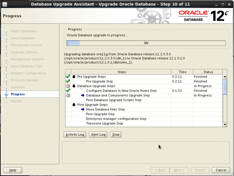 Screenshot: Oracle 12c database upgrade assistant progress