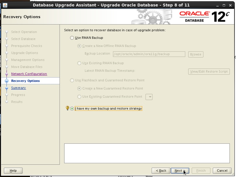 Screenshot: Oracle 12c database upgrade assistant recovery options