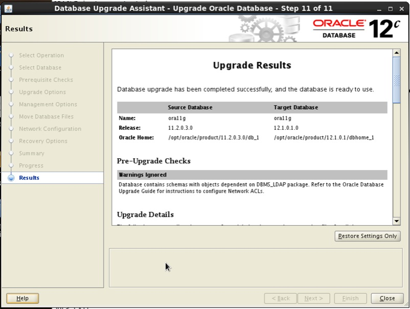 Screenshot: Oracle 12c database upgrade assistant results
